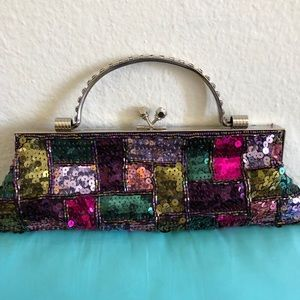 Handbags - Multi colored Sequined evening bag